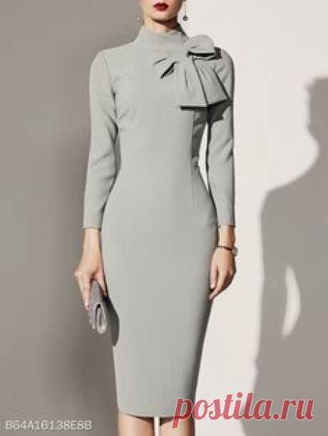 Crew Neck Bowknot Plain Bodycon Dress #dress #dresses #bodycon #bodycondress #plaindress #afflink #fashion #womensfashion #womenswear #forwork #officewear #formalwear #formalstyle