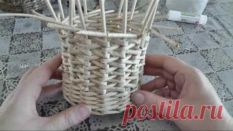 Японское послойное плетение из газетных трубочек
