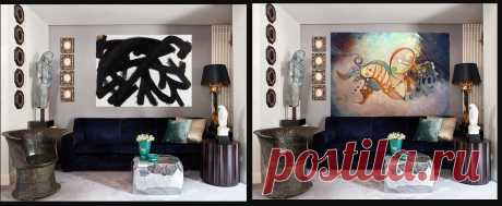 """Картина на стене в интерьере изменина на мою, что создало другое настроение, название""""Создание мира"""" 180х120см. Холст, масло. 2006 Продана -4000$"""
