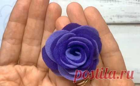 Двухцветный цветочек из фетра. Без шитья.   ИЗ ФЕТРА   Яндекс Дзен