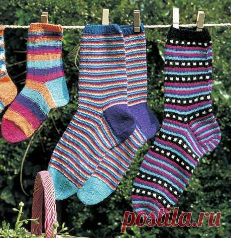 Носки в тонкую полоску - схема вязания спицами. Вяжем Носки на Verena.ru