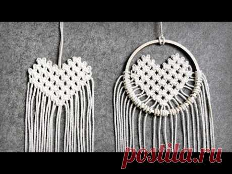 DIY: MINI MACRAME HEART USING SQUARE KNOTS ❤️ EASY CRAFTS