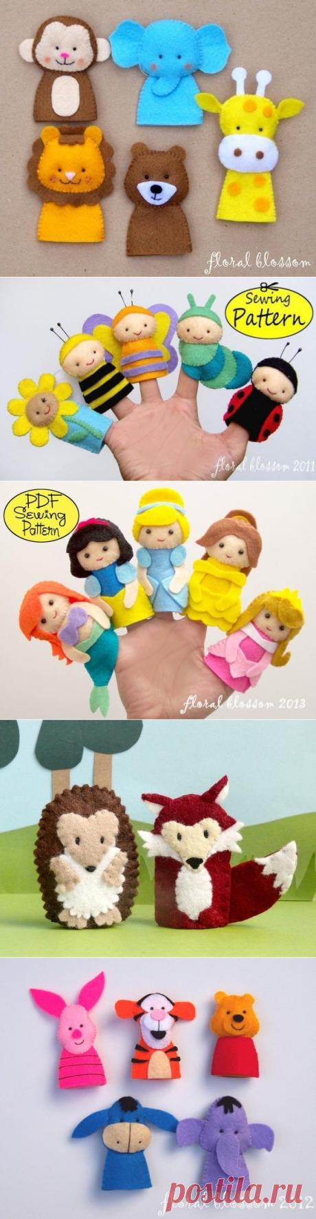 Простые игрушки на пальцах из фетра