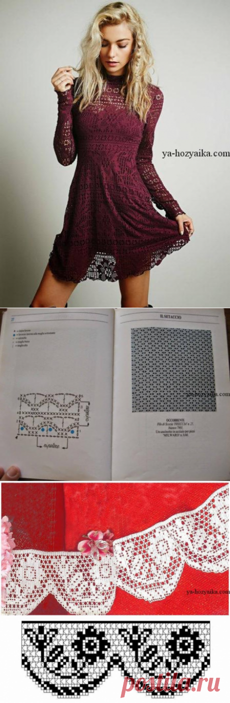 Платье крючком филейным узором. Филейное вязание крючком платья схемы бесплатно