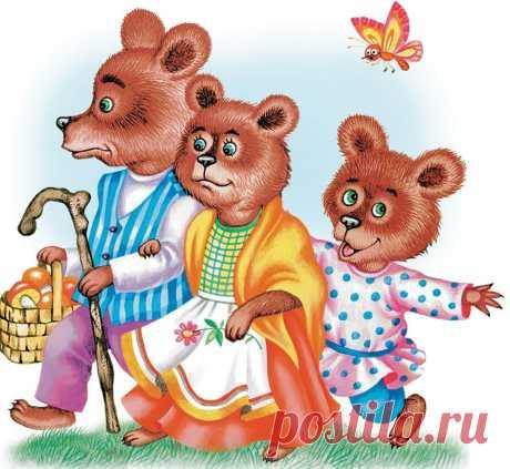 Иллюстрация к сказке про трех медведей, которые были очень сердиты незваной гостье в их доме. Девочка заблудилась в лесу и зашла в пустой дом, где жила семья медведей.