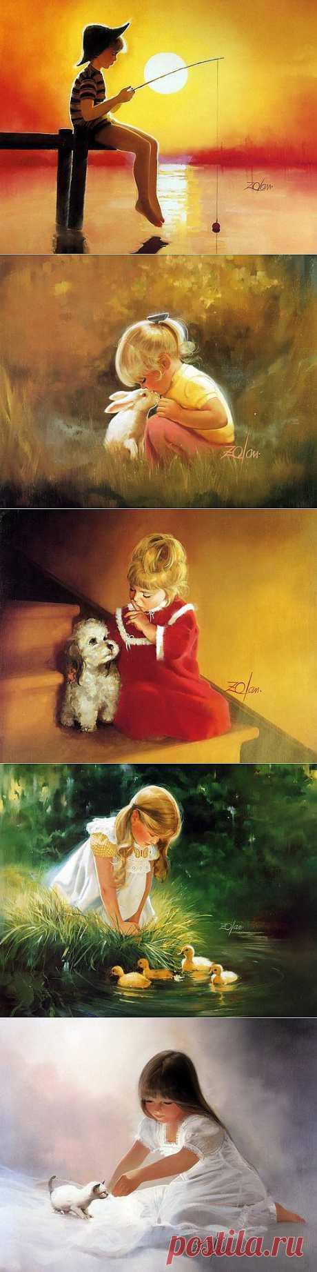 Счастливое и беззаботное детство на картинах Дональда Золана (Donald Zolan) - Ярмарка Мастеров - ручная работа, handmade