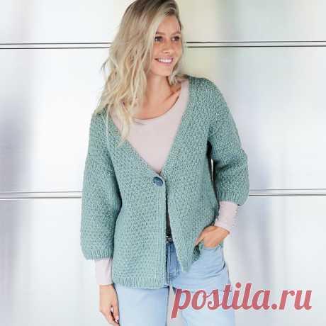 Жакет мятного цвета - схема вязания спицами. Вяжем Жакеты на Verena.ru