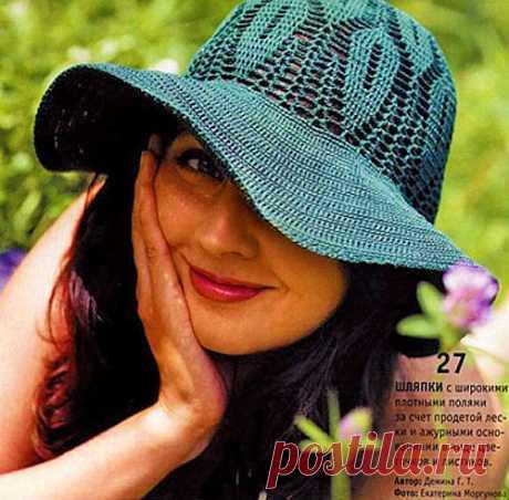 El sombrero veraniego por el gancho — protegeremos los ojos y la cutis | la LABOR de punto de los GORROS: los gorros femeninos por los rayos y el gancho, los gorros de hombre e infantiles, las bolsas tejidas