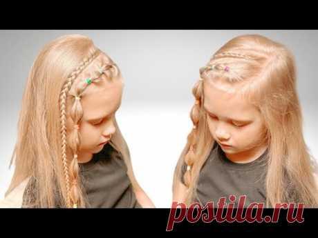 Прическа с цветными резинками на распущенных волосах - YouTube