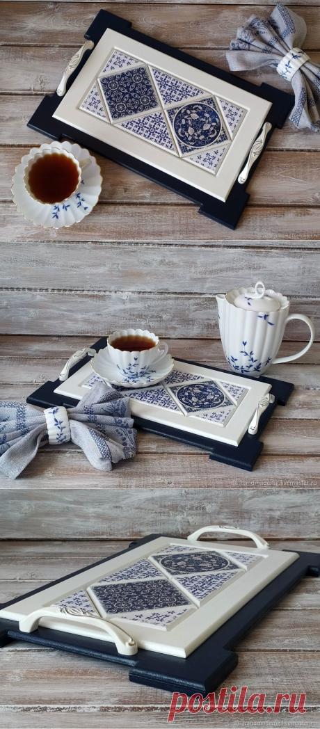 Поднос для кофе, Гжель – купить на Ярмарке Мастеров – M5BOURU | Подносы, Москва