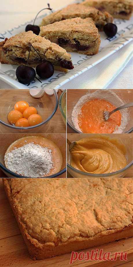 Баскский пирог с вишней и заварным кремом.