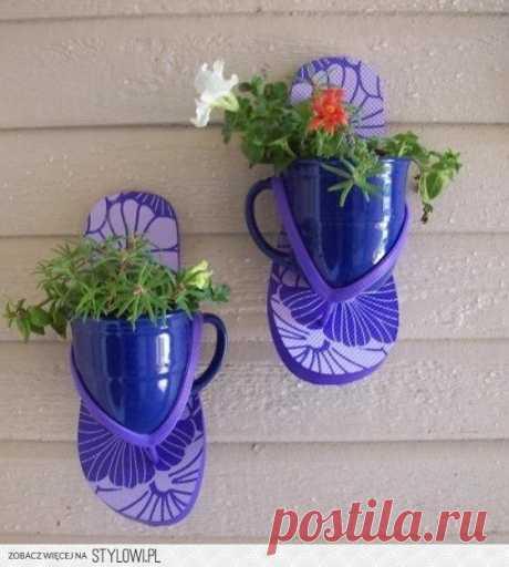 Чайная чашка + шлепки = кашпо / Цветы / Модный сайт о стильной переделке одежды и интерьера