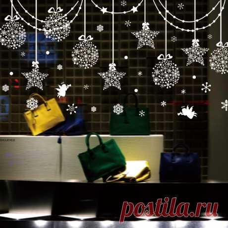[Shijuehezi] Новогодние товары окна Наклейки Винил DIY Star снежный Ангел наклейки на стены для Семья mutfak обои комната магазин украшения купить на AliExpress