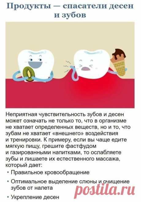 Список продуктов, которые помогут сохранить десна и зубы здоровыми и красивыми