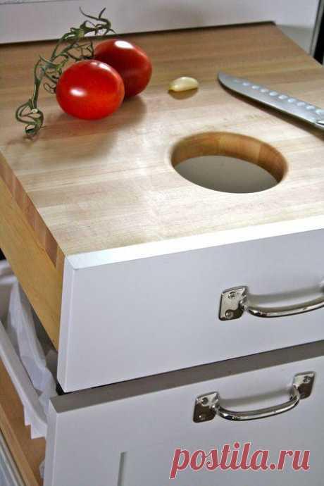 Идеи для кухни: всё лишнее с разделочной доски сразу в мусор!