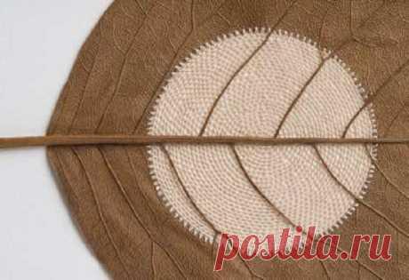 Рукодельница обвязывает сухие листья крючком и превращает их в настоящие шедевры