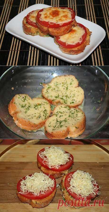 (+1) - Гренки с помидорами и сыром. К завтраку | Любимые рецепты