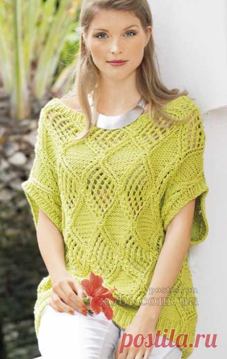 Летний пуловер с ажурными ромбами. Спицами. / xobi.com.ua