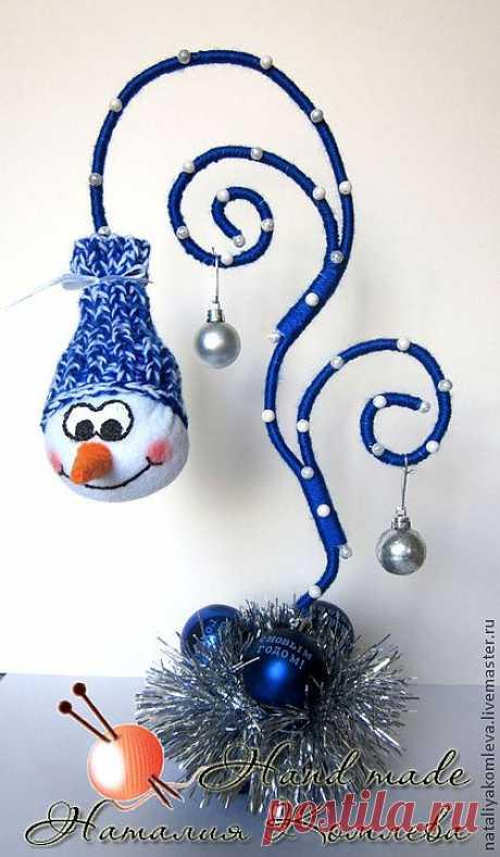 """Интерьерная композиция """"Зимняя сказка"""" - тёмно-синий,снеговик,новогодний интерьер"""