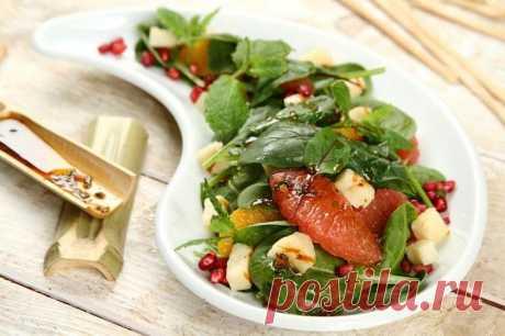 Салат с жареным сыром халуми и фруктами – пошаговый рецепт с фото.