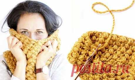 Как связать крючком снуд пышным столбиком?…. Результат сказочный! Зимой без уютного шарфа никуда: оннетолько согреет вморозный день, ноистанет отличным дополнением комф