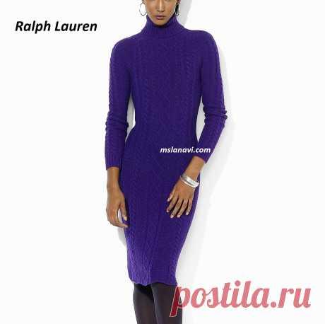 Элегантное платье спицами от Ralph Lauren - СХЕМА