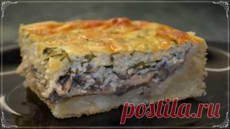 Нереально Вкусный Заливной Пирог с Грибами и Сыром!!! Советую Всем Приготовить! рецепт с фото