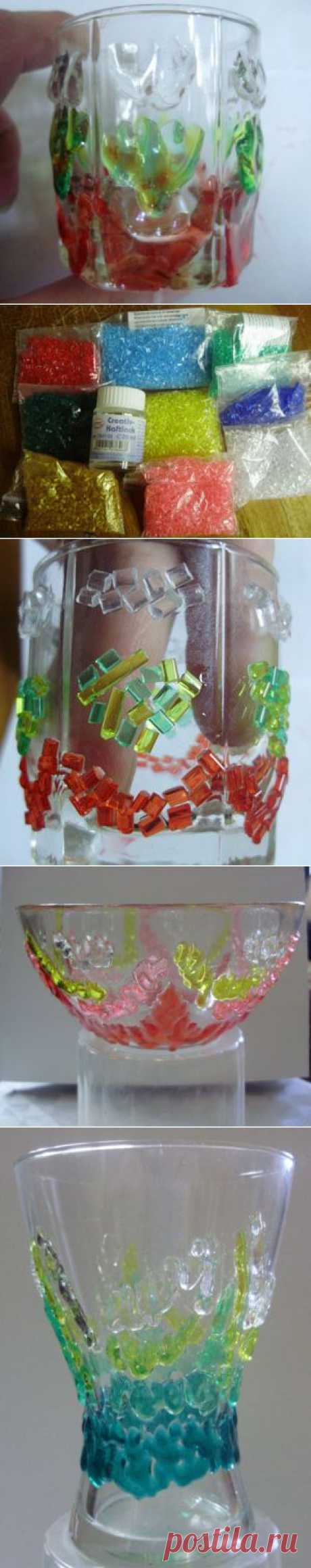 Декорирование стеклянных предметов гранулами для запекания..