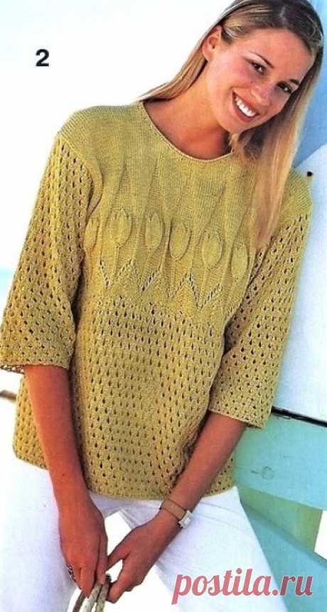 Пуловер с узором Тюльпан спицами