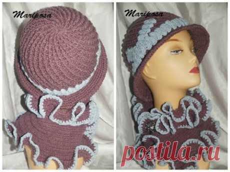 Зимняя шляпка крючком. Sombrero de invierno.