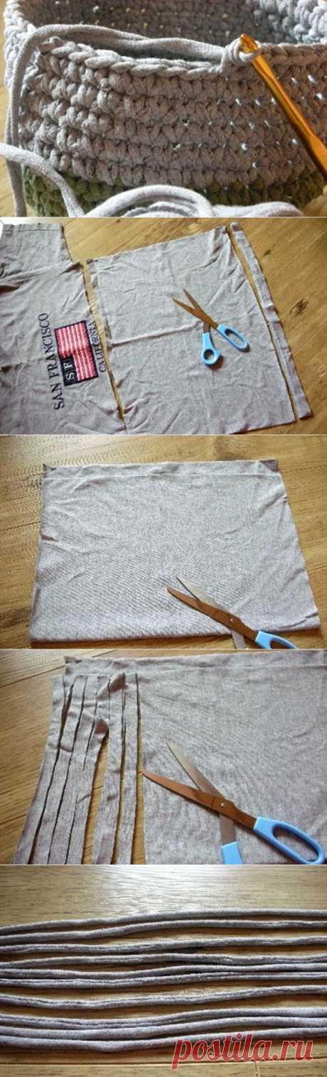 Как сделать пряжу из трикотажной футболки.