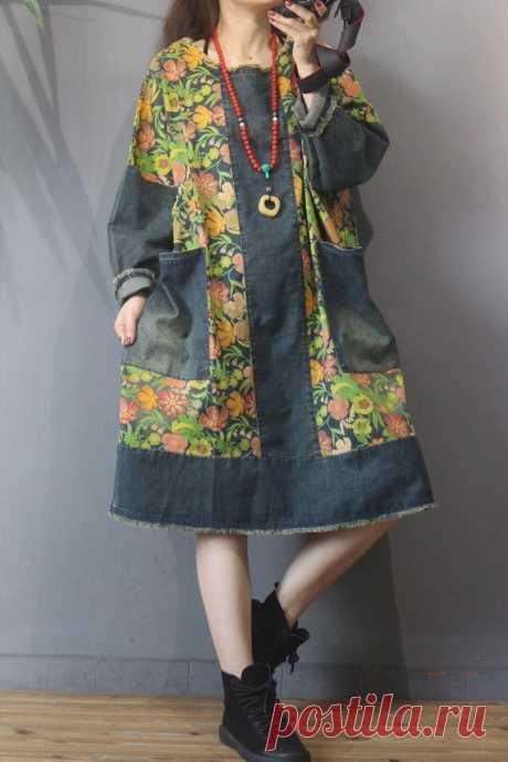 Cotton Oversized dress midi dress retro dress women printed   Etsy