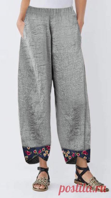 Plus Size Women's Harem Pants Autumn Elastic Waist Casual Pants Vintage Floral Printed Trousers Female Loose Pantalon Palazzo #Widelegpants #Madewellstyle #Widelegpantsoutfit #Casualoutfits #Workoutfit #Casualfashion #Springoutfits #Lucyhalestyle #Widelegpantsoutfitsummer #Widelegpantsoutfitwork #Petitefashion #Petitestyle #Petiteoutfits #Pantsoutfitcasual Модная Одежда Для Девушек, Модные Брюки, Модные Наряды, Наряд С Льняными Брюками, Пошив Брюк, Брюки С Принтом, Тайские...