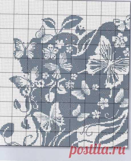 """Филейные схемы. Девушка с бабочками в волосах. Эта схема годится как для филейного вязания крючком, так и для вышивки и для использования в вязании изделий в технике """"интарсия""""."""