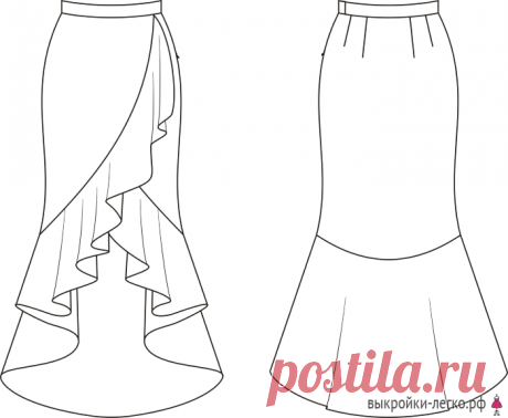 Выкройка юбки-палаццо (р-р 40-64) | Шить просто — Выкройки-Легко.рф