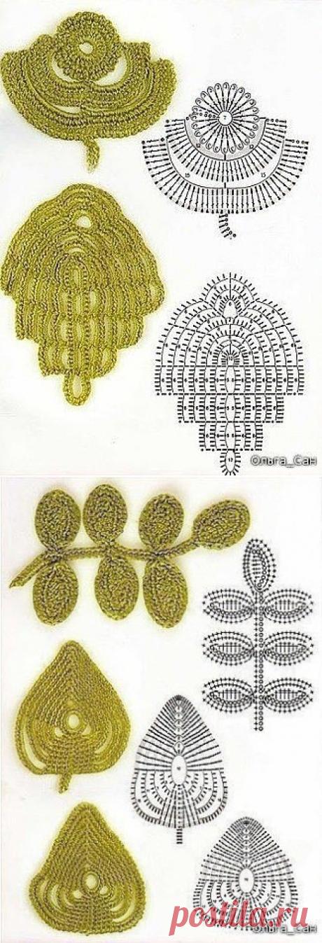 Коллекция листочков крючком