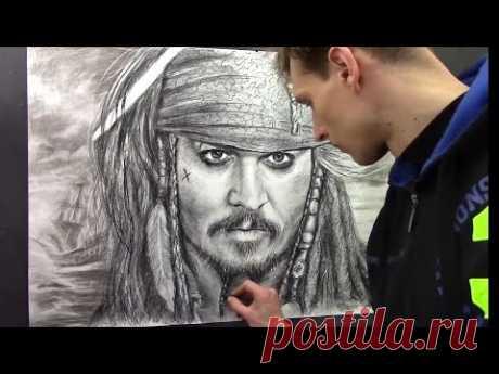 ★ Portrait Captain Jack Sparrow - Pirates of Caribbean. Johnny Depp by artist Valery Rybakow ★