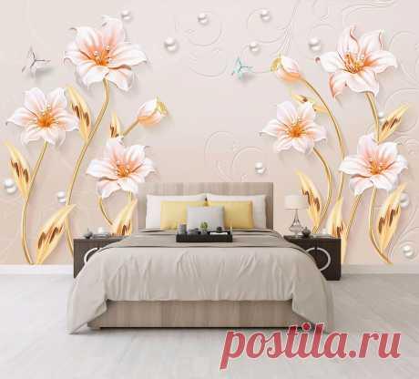 3Д цветы лилии под барельеф