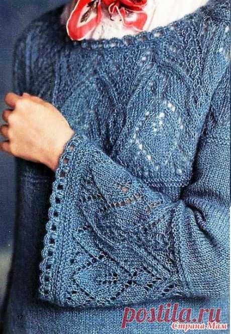 Пуловер с ажурными элементами. Спицы. - ВЯЗАНАЯ МОДА+ ДЛЯ НЕМОДЕЛЬНЫХ ДАМ - Страна Мам