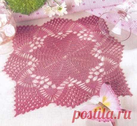 Необычная салфетка крючком. Схема. / knittingideas.ru