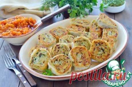 Картофельно-грибные рулетики из лаваша - кулинарный рецепт
