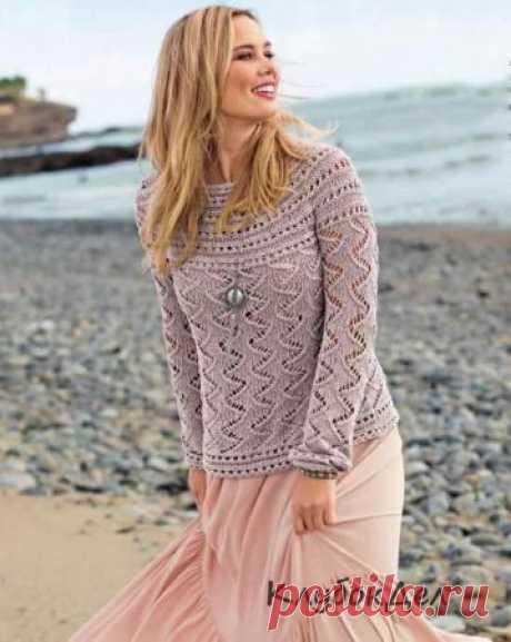 Вязаный пуловер с круглой кокеткой для женщин. Вязание спицами с описанием