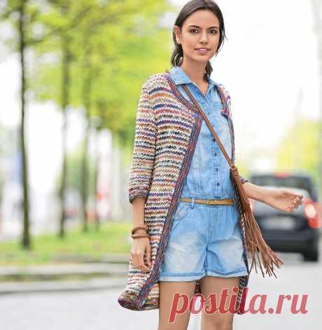 Пальто с рукавом 1/2 - схема вязания спицами с описанием на Verena.ru