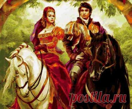 Предпросмотр схемы вышивки «рыцарь и принцесса» - Вышивка крестом