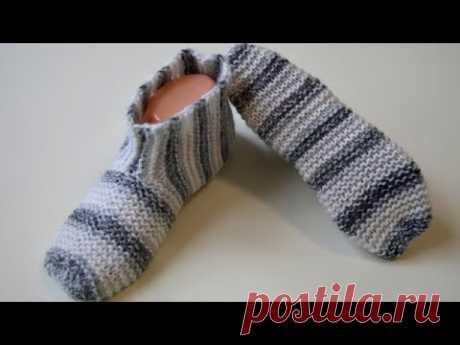 Легкие тапочки носки на двух спицах