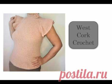 Crochet tutorial. Rose raglan top down sweater