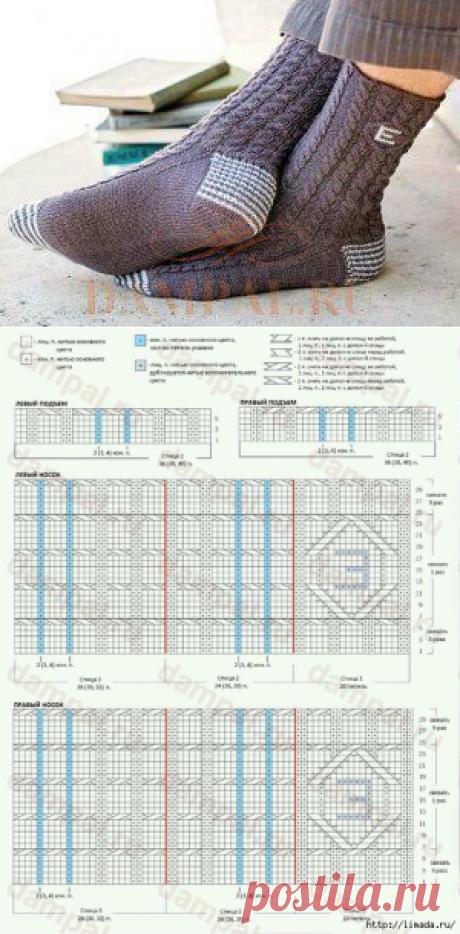 стильные вязаные мужские носки с монограммой. схема. описание