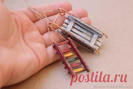 Мастер-класс смотреть онлайн: Как сделать миниатюрные санки   Журнал Ярмарки Мастеров