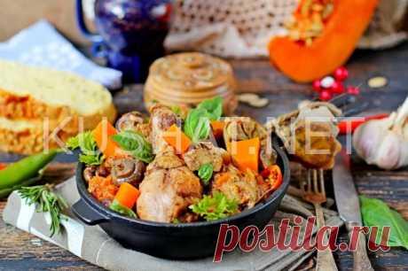 Курица, запеченная с грибами и тыквой. Пошаговый рецепт с фото • Кушать нет
