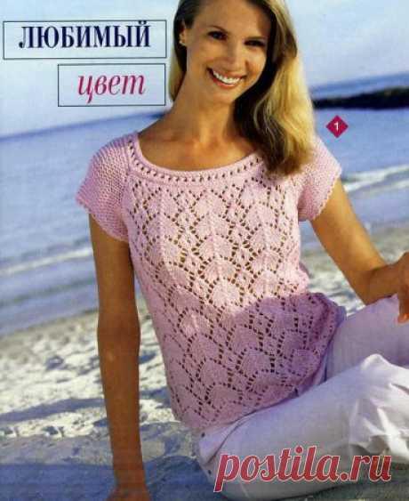 розовая кофточка с коротким рукавом » Петля - вязание на все случаи жизни!